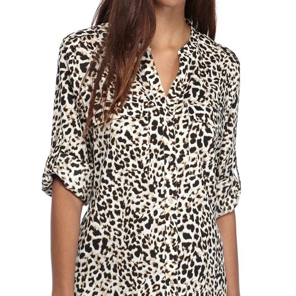 12205424dafe Calvin Klein Tops   Cheetah Leopard Print Top Blouse M   Poshmark